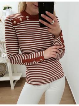 Suéter marinero botones marrón