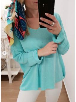 Suéter puntitos aguamarina