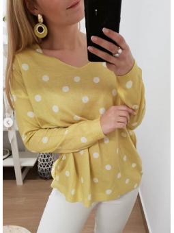 Suéter amarillo lunares