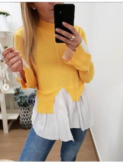 Suéter amarillo efecto camisa