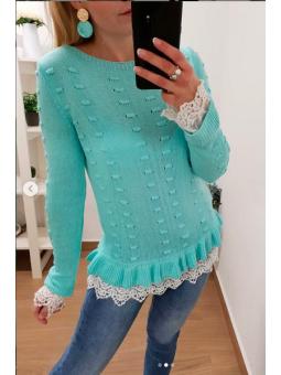 Suéter Valentina aguamarina