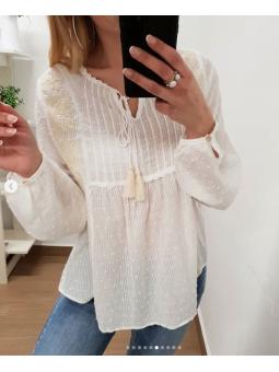 Blusa blanca plumeti Mireia