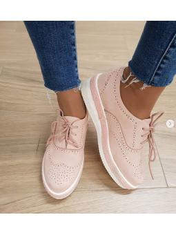 Zapato rosa cordones...