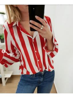 Camisa rayas roja y blanca