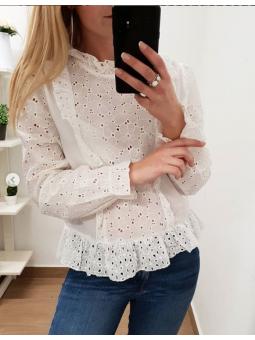 Camisa blanca calada Eva