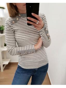 Suéter marinero botones gris