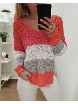 Suéter tricot franjas coral
