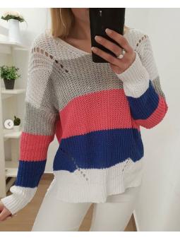 Suéter tricot franjas blanca