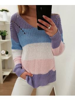 Suéter tricot franjas lila