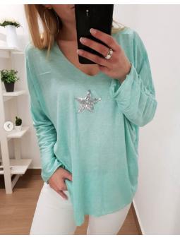 Suéter aguamarina estrella...
