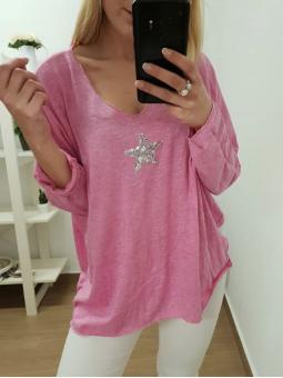 Suéter rosa estrella glitter