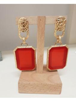 Pendientes dorado piedra roja
