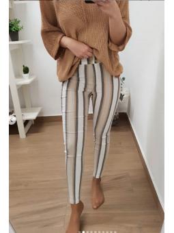 Pantalones rayas beige,...
