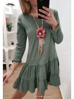 Vestido casual verde militar