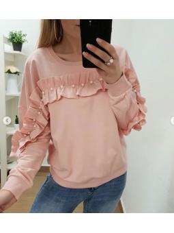 Sudadera perlitas rosa