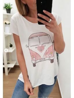 Camiseta furgoneta rosa...