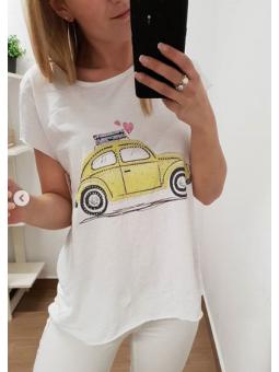 Camiseta coche Volks amarillo