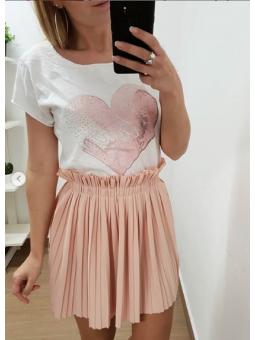 Camiseta corazon rosa