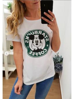 Camiseta Mickey coffe