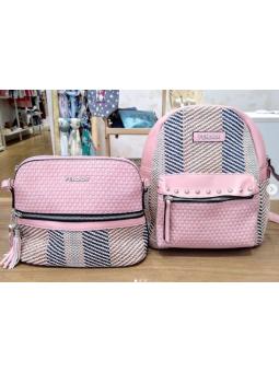 Mochila / bolso jaspeado rosa