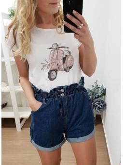 Camiseta moto rosa