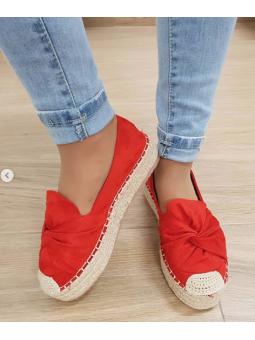 Zapato suela esparto rojo...