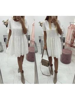 Vestido blanco manga corta...