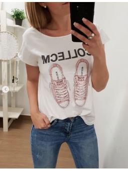 Camiseta zapatillas rosas