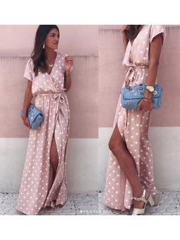 Vestido largo rosa lunares