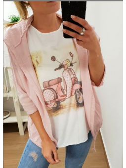 Chaqueta rosa manga tres...