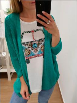 Chaqueta tricot verde mar