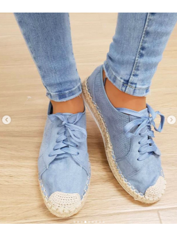 Zapato cordones azul claro...