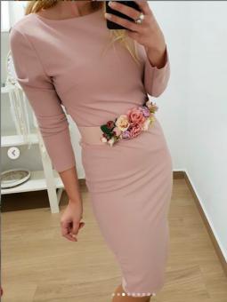 Vestido rosa liso lazo trasero
