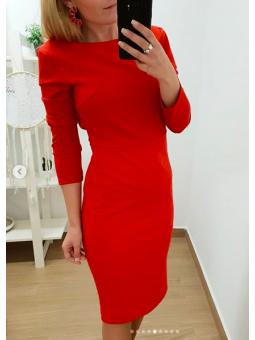 Vestido rojo liso lazo trasero