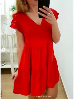 Vestido vuelo rojo volante