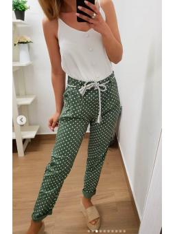 Pantalones lunares fondo verde