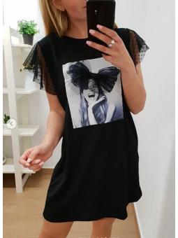 Vestido negro chica lazo tul
