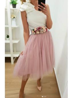 Falda midi tul rosa