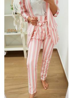 Pantalones rayas blanco y rosa