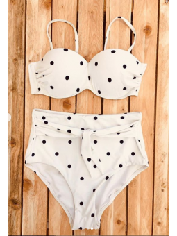 Bikini lunares blanco