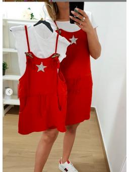 Vestido corto rojo estrella...