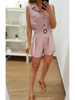 Mono corto rosa botones madera