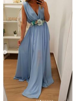 Vestido azul claro Largo...
