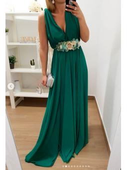Vestido largo fiesta verde