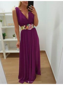Vestido largo gasa buganvilla