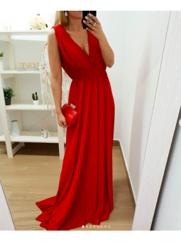 Vestido fiesta gasa rojo largo