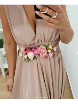 Cinturón cuero flores rosas...