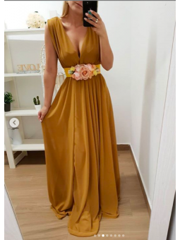 Vestido largo fiesta mostaza