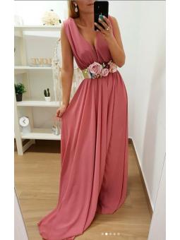 Vestido largo gasa rosa...
