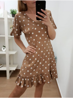 Vestido corto lunares marrón
